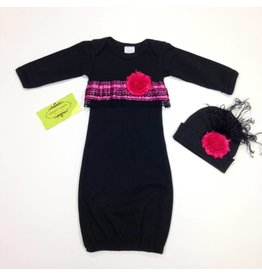 Persnickety Baby Sassy Sue Black and Pink Gown