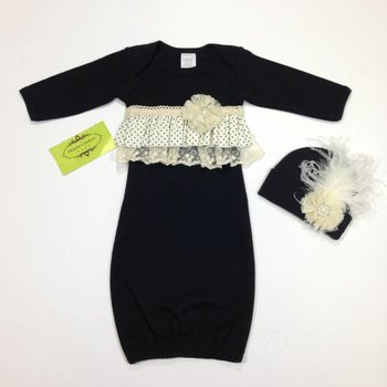 Persnickety Baby Dottie Black and Ivory Gown