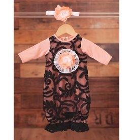 Peaches 'n Cream Peach/Black Gown