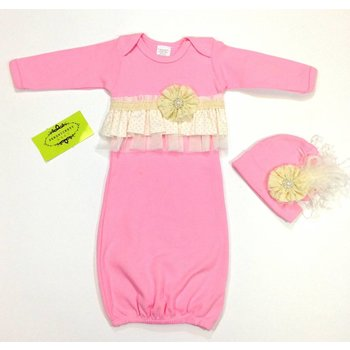 Persnickety Baby Dottie Gown/Light Pink