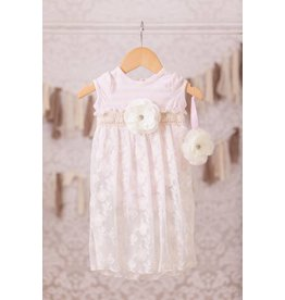 Peaches 'n Cream Pink and Ivory Onesie with Lace Overlay and Headband