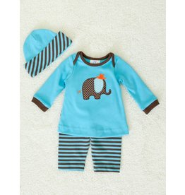 Boys n Berries Blue and Brown Elephant Pant and Shirt