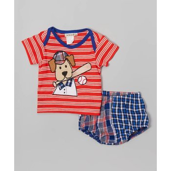 CachCach Baseball Puppy Bloomer and Top Set