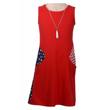 Bonnie Baby Stars and Stripes Shift Dress and Tassel Necklaces