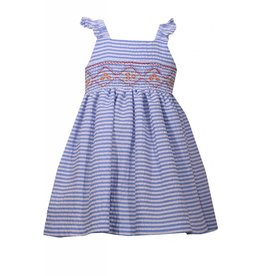 Bonnie Baby Blue Seersucker Smocked Detail Dress