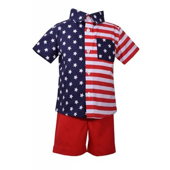 Matt's Scooter Stars and Stripes Shirt And Short Set