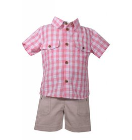 Matt's Scooter Pink Plaid Button Down Khaki Short Set