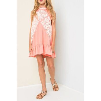 Hayden Coral Lace Mock Dress