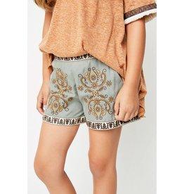 Hayden Sage Embroidered Shorts