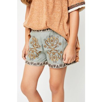 Hayden Sage Embroidered Shorts
