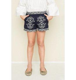 Hayden Navy Embroidered Shorts