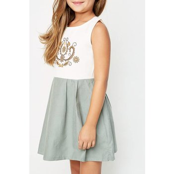 Hayden Sage Two Toned Mini Pleated Dress