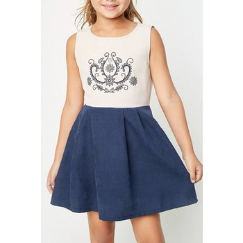 Hayden Navy Two Toned Mini Pleated Dress