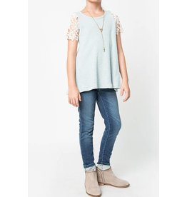 Hayden Sage Lace Sleeve Top