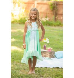 Mallory May Teal and White Polka Dot Dress