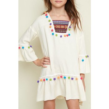Hayden Cream Decorative Pom Pom Tunic