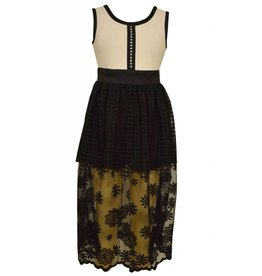 Bonnie Jean Black and White Lace Skirted Dress