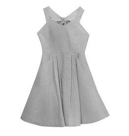 Rare Editions Dark Grey  Seersucker Dress