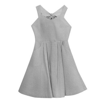 Rare Editions Dark Grey  Seersucker Dress