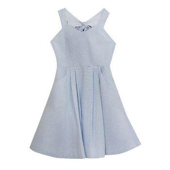 Blue Seersucker Bow Back Dress