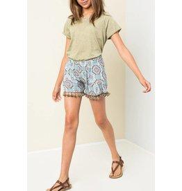 Hayden Light Blue Tropical Tassel Shorts