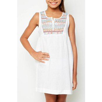 Hayden White Embroidered Tunic Dress