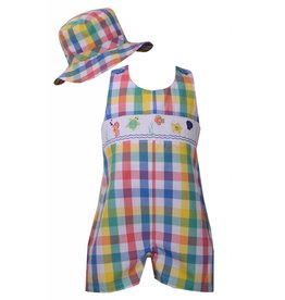 Matt's Scooter Plaid Shortall With Smocked Detailing