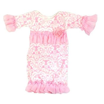 Cuddle Couture Pink Damask Minky Ruffle Gown