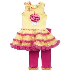 Rare Editions Hot Pink/ Yellow Birthday Dress Set