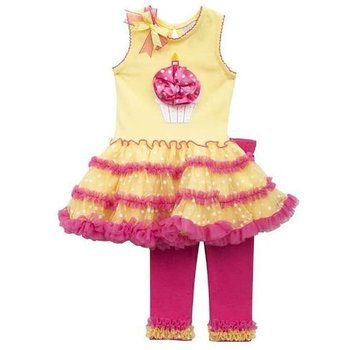 Rare Editions Hot Pink/ Yellow Birthday Dress Set