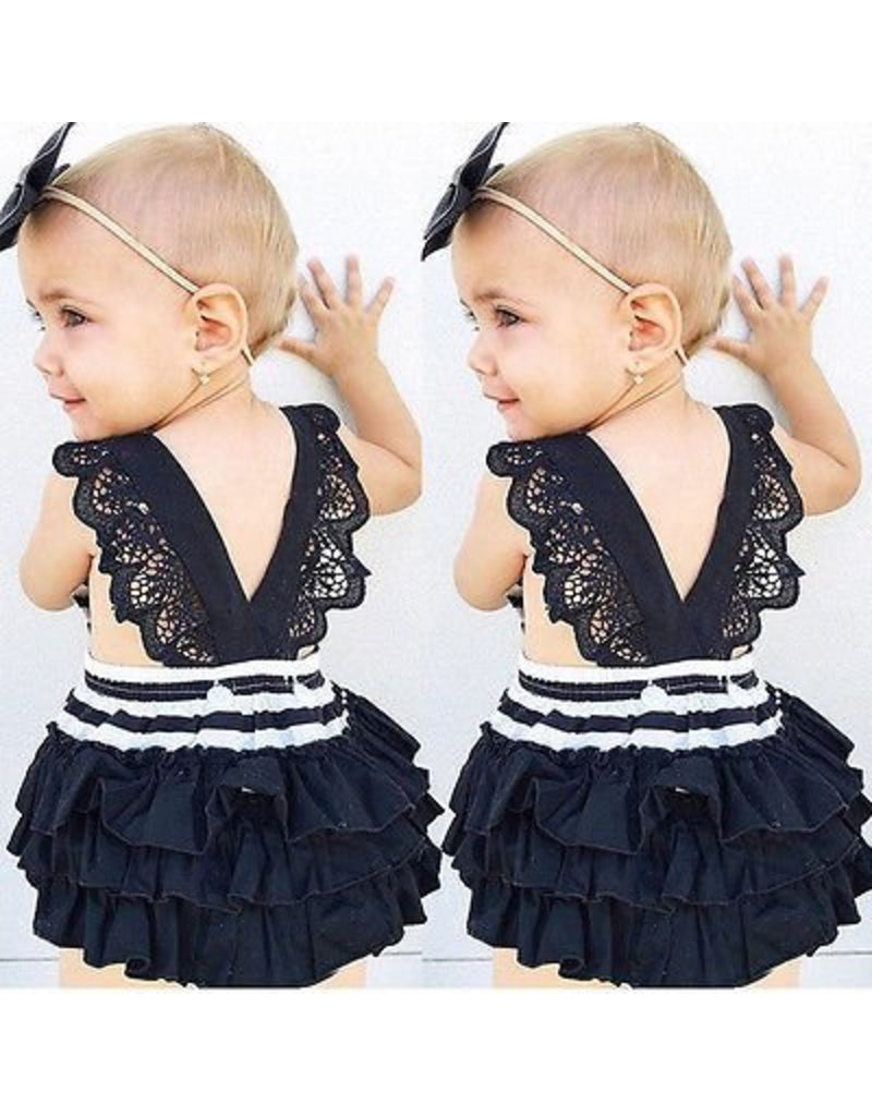 Black and White Lace Back Romper with Headband