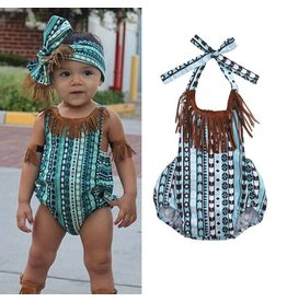 Aqua Tribal Fringe Bubble  With Headband and Arm Cuffs