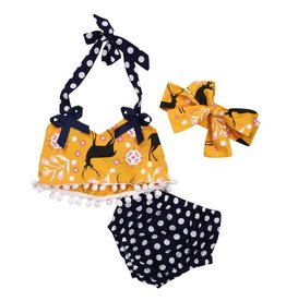 3PC Set Yellow and Navy Polka Dot and Deer