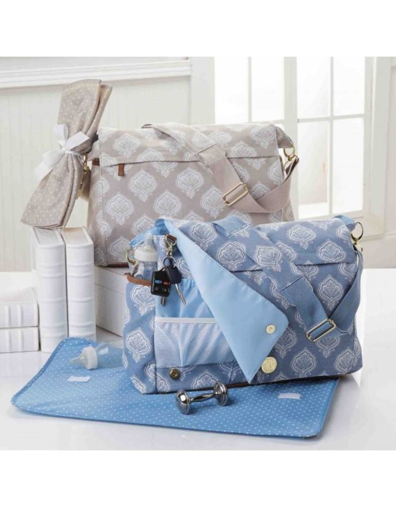 Mud Pie Jaipur Messenger Diaper Bag Blue