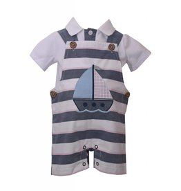 Matt's Scooter Pink and Chambray Sailboat Overall Set