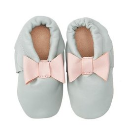 Helene's Closet Grey Moccasins With Pink Bow