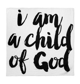 Modern Burlap Organic Cotton Swaddle, I am a Child of God