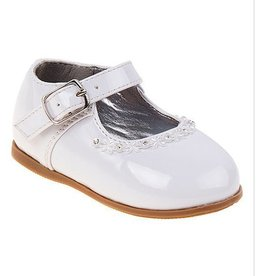 JoSmo White Patent Mary Jane with Flower
