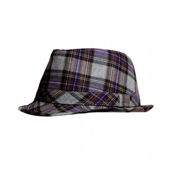 Rugged Butts Grey and Purple Plaid Fedora