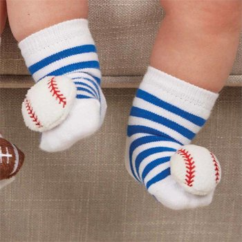 Mud Pie Striped Baseball Rattle Socks