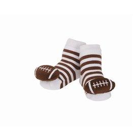 Mud Pie Striped Football Rattle Socks