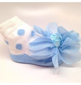 K & K Interiors, Inc. Light Blue Polka Dot Blossom Sock