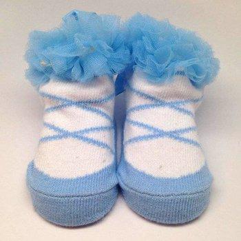 K & K Interiors, Inc. Light Blue Ballerina Ruffle Socks