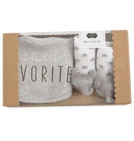 Mud Pie Grey Grandma's Favorite Bib Set