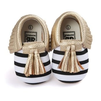 White and Black Stripped Moccasins with Gold Tassles