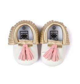 Ivory Gold Moccasins with Pink Tassles