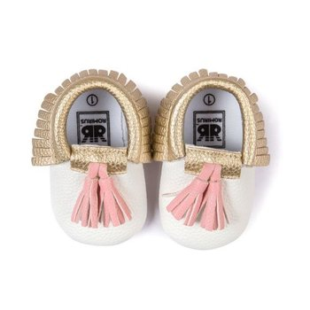 Ivory Gold Moccasins with Pink Tassels