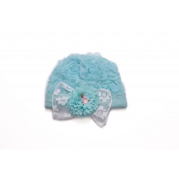 CachCach Cyan Blue Flower Cap With White Lace