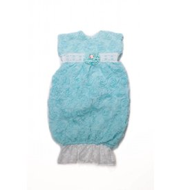 CachCach Cyan Blue Flower Gown With White Lace