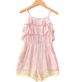 Hannah Bananna Pink Rose Lace Trimmed Romper Tween